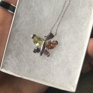 Jewelry - Sterling silver multicolor jewel necklace!